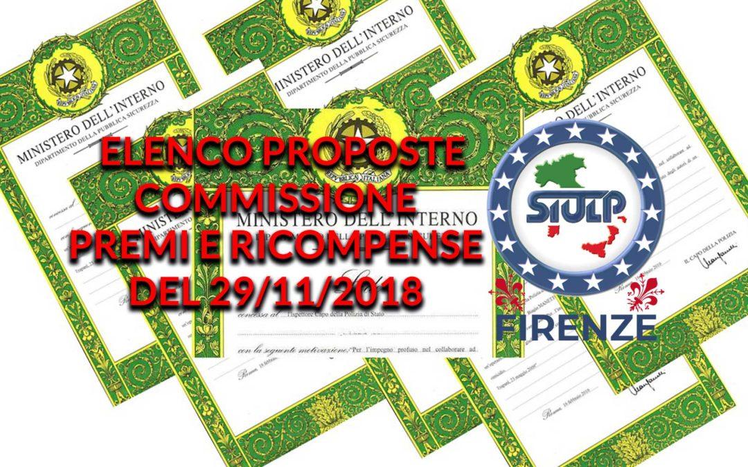 Commissione premi e ricompense del 29.11.2018 – Elenco proposte premiali