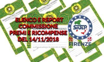Commissione premi e ricompense del 14.11.2018 – Elenco e Report riunione
