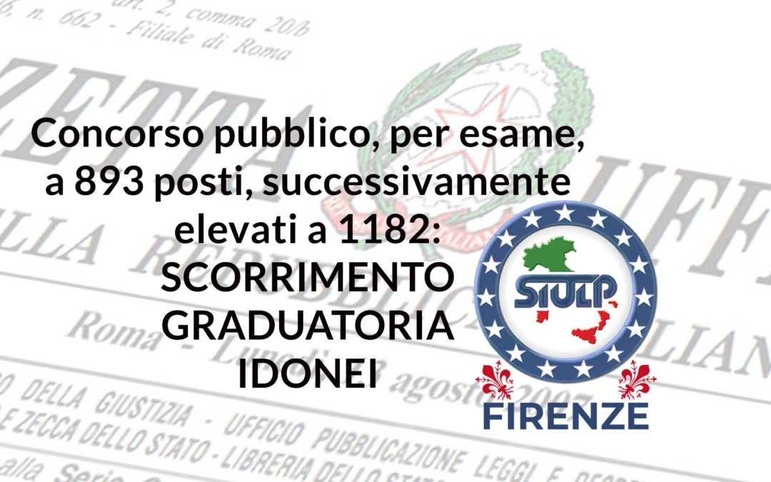Concorso pubblico, per esame, a 893 posti, successivamente elevati a 1182: scorrimento graduatoria idonei