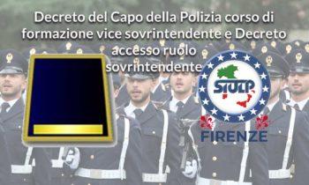 Decreto del Capo della Polizia corso di formazione Vice Sovrintendente e Decreto accesso ruolo Sovrintendente
