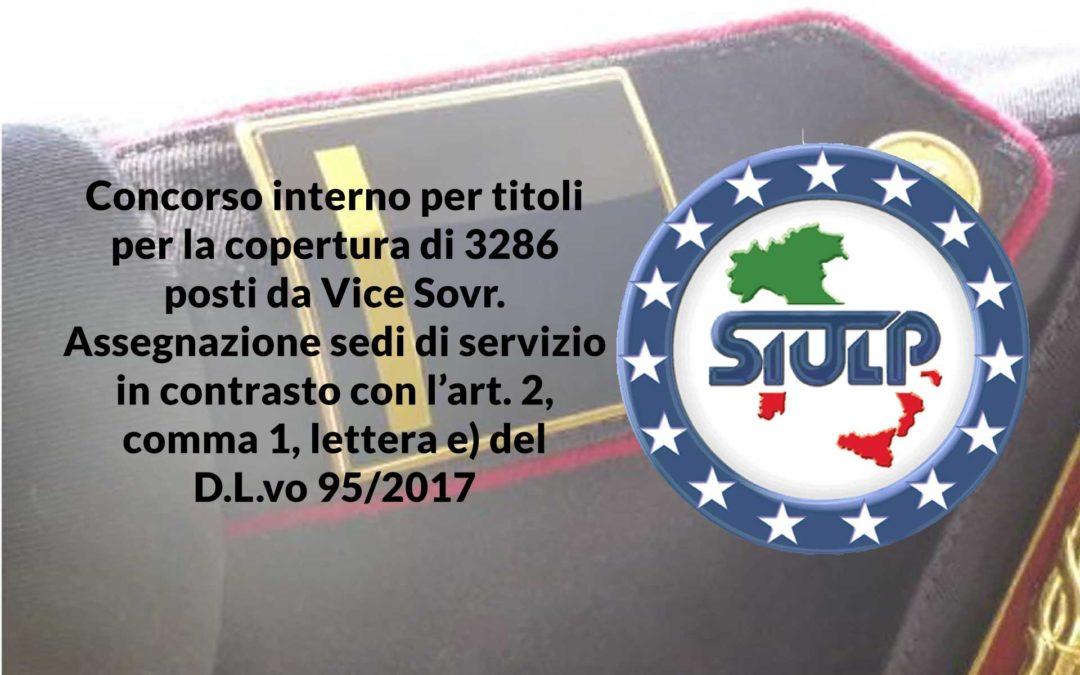 Concorso interno per titoli per la copertura di 3286 posti da Vice Sovr. – Assegnazione sedi di servizio in contrasto con l'art. 2, comma 1, lettera e) del D.L.vo 95/2017