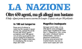 Oltre 650 agenti, ma gli alloggi non bastano. Il SIULP: Quasi pronta la nuova caserma De Laugier. Lì spazio solo per 180 poliziotti
