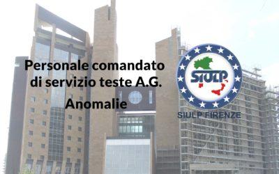 Personale comandato di servizio teste A.G. – Anomalie