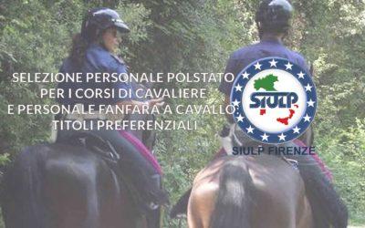 Selezione personale Polstato per i corsi di Cavaliere e personale fanfara a cavallo – titoli preferenziali