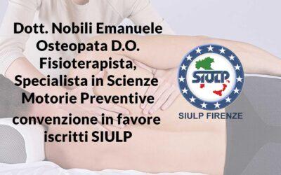 Dott. Nobili Emanuele Osteopata D.O. Fisioterapista, Specialista in Scienze  Motorie Preventive: convenzione in favore iscritti SIULP